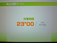Wii Fit Plus 2011年7月21日のバランス年齢 33歳 周辺視野テスト結果 所要時間 23