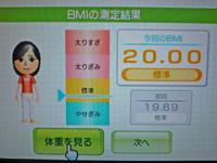 Wii Fit Plus 2011年7月23日のBMI 20.00