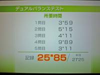 Wii Fit Plus 2011年7月24日のバランス年齢 23歳 デュアルバランステスト結果 25