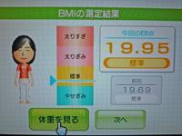 Wii Fit Plus 2011年7月25日のBMI 19.95