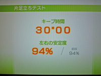 Wii Fit Plus 2011年7月27日のバランス年齢 20歳 片足立ちテスト結果 キープ時間30