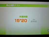 Wii Fit Plus 2011年7月29日のバランス年齢 28歳 周辺視野テスト結果 所要時間 15