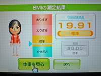 Wii Fit Plus 2011年7月31日のBMI 19.91