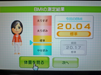 Wii Fit Plus 2011年8月8日のBMI 20.04