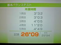 Wii Fit Plus 2011年8月8日のバランス年齢 20歳 基本バランステスト結果 26