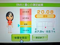 Wii Fit Plus 2011年8月10日のBMI 20.08