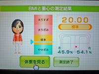 Wii Fit Plus 2011年8月20日のBMI 20.00