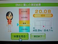 Wii Fit Plus 2011年8月22日のBMI 20.08