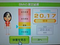 Wii Fit Plus 2011年8月24日のBMI 20.17