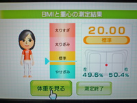 Wii Fit Plus 2011年8月25日のBMI 20.00