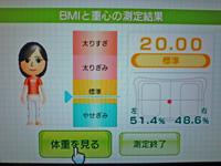 Wii Fit Plus 2011年8月26日のBMI 20.00