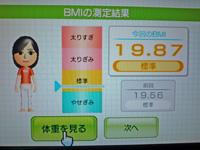 Wii Fit Plus 2011年8月29日のBMI 19.87
