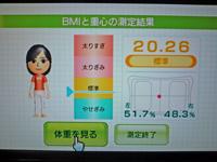 Wii Fit Plus 2011年9月1日のBMI 20.26