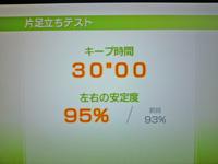 Wii Fit Plus 2011年10月6日のバランス年齢 20歳 片足立ちテスト結果 キープ時間30