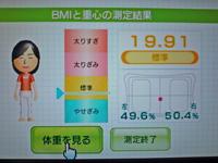 Wii Fit Plus 2011年10月21日のBMI 19.91