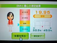 Wii Fit Plus 2011年10月24日のBMI 19.95