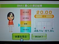 Wii Fit Plus 2011年10月25日のBMI 20.00