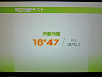 Wii Fit Plus 2011年10月31日のバランス年齢 22歳 周辺視野テスト 所要時間16