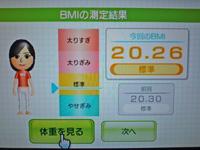 Wii Fit Plus 2011年11月19日のBMI 20.26