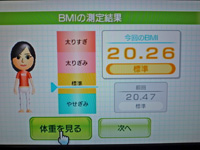 Wii Fit Plus 2011年11月24日のBMI 20.26