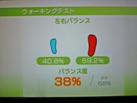Wii Fit Plus 2011年11月24日のバランス年齢 33歳 ウォーキングテスト結果 バランス度38%