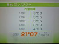 Wii Fit Plus 2011年12月05日のバランス年齢 20歳 基本バランステスト結果 21