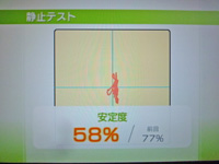 Wii Fit Plus 2011年12月07日のバランス年齢 32歳 静止テスト結果 安定度 58%