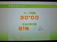 Wii Fit Plus 2011年12月08日のバランス年齢 20歳 片足立ちテスト結果 キープ時間30