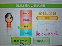 Wii Fit Plus 2011年12月17日のBMI 20.39