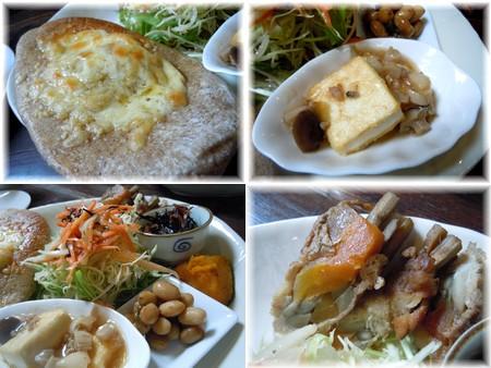 ポタージュ、八幡巻と豆腐ステーキ