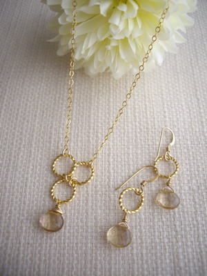 bubble link necklace and earrings