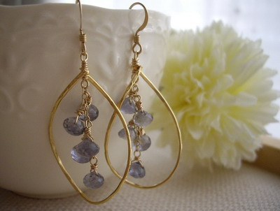 tanzanite frame in earrings