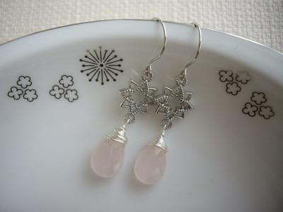 rosequartz earrings