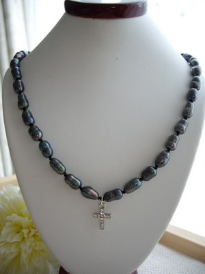 black pearl and cross necklace