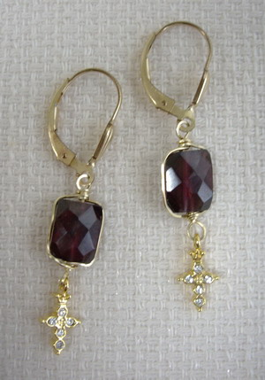 garnet and cross earrings
