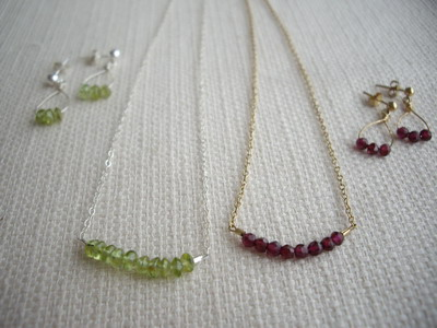 peridot,ruby necklace
