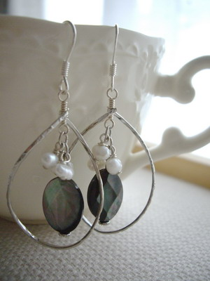 shell frame in earrings