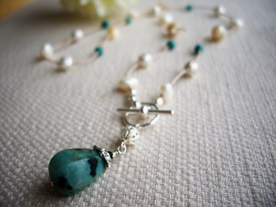 amazonite,mother of pearl Y shape nekclace