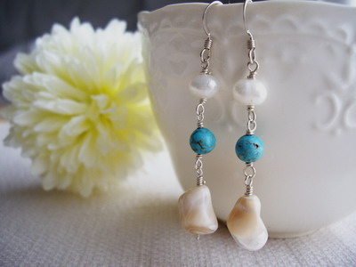 Shell,turquoise earrings
