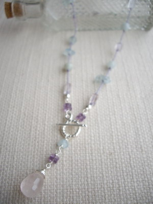 Y shape french knot necklace