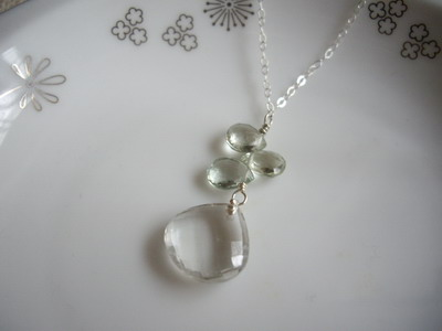 green quartz and green amethyst necklace