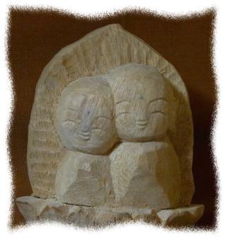 お地蔵様 木彫り 夫婦地蔵