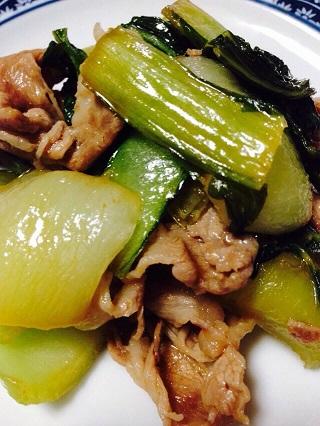 61019チンゲン菜と豚肉のオイスター炒め