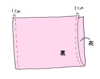 2半分に折って縫う