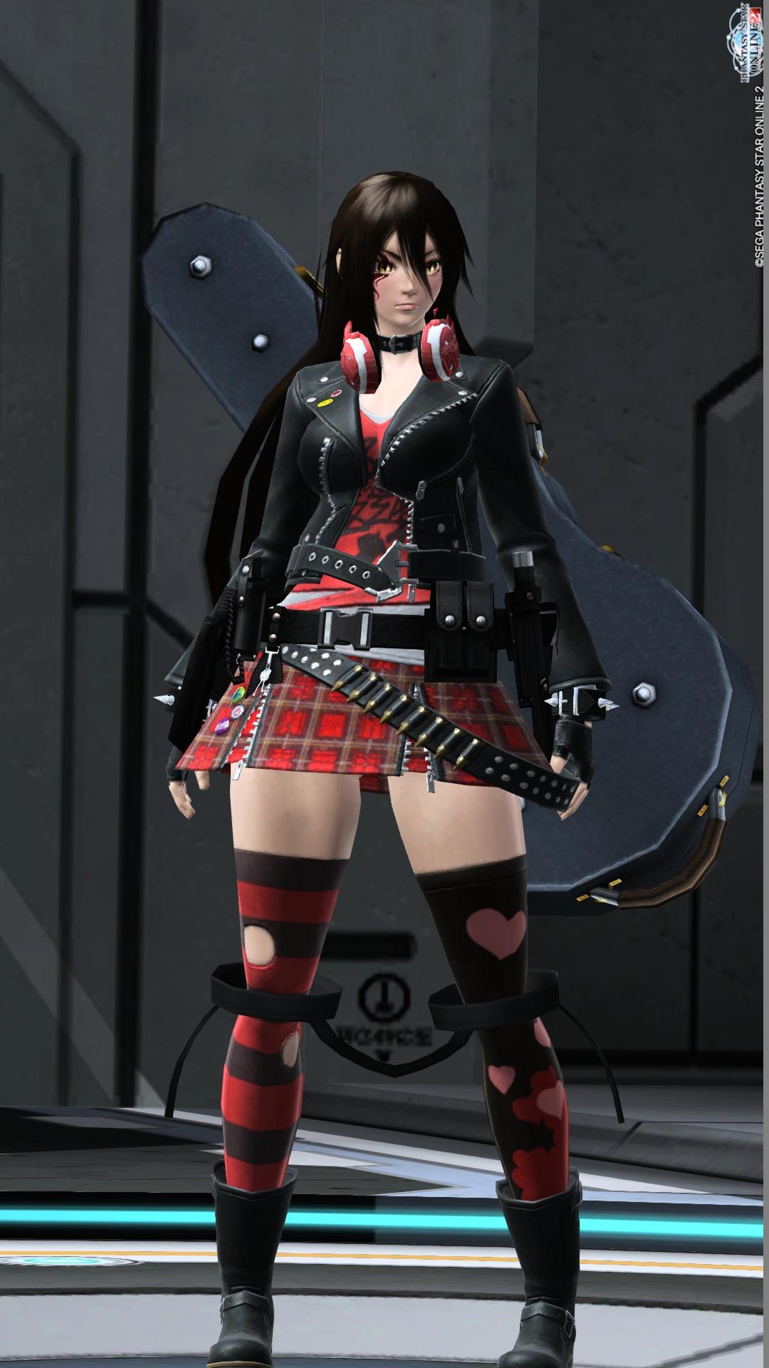 髪型シャープアナザーロングメイクナチュラルメイクブレイズメイク赤瞳パターンブラッククロスアイ 大アクセサリー首掛けヘッドフォントゲトゲのリストバンドSPベルト