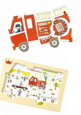 木製パズル消防車