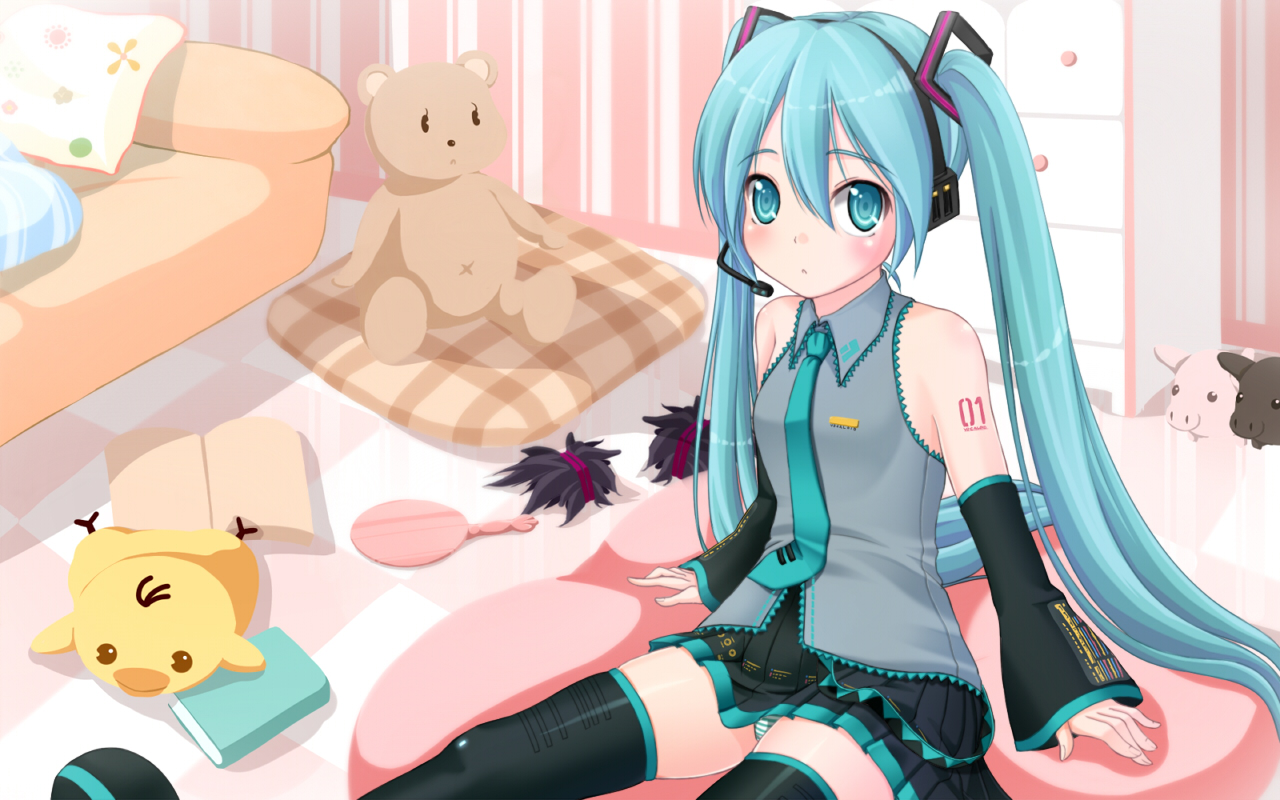 Konachan.com - 59480 hatsune_miku panties teddy_bear underwear vocaloid