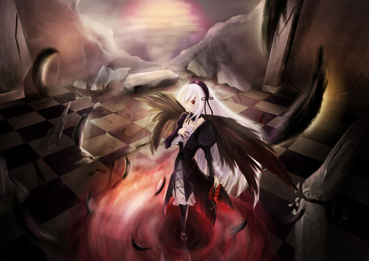 Konachan.com - 60314 feathers gothic rozen_maiden suigintou white_hair wings