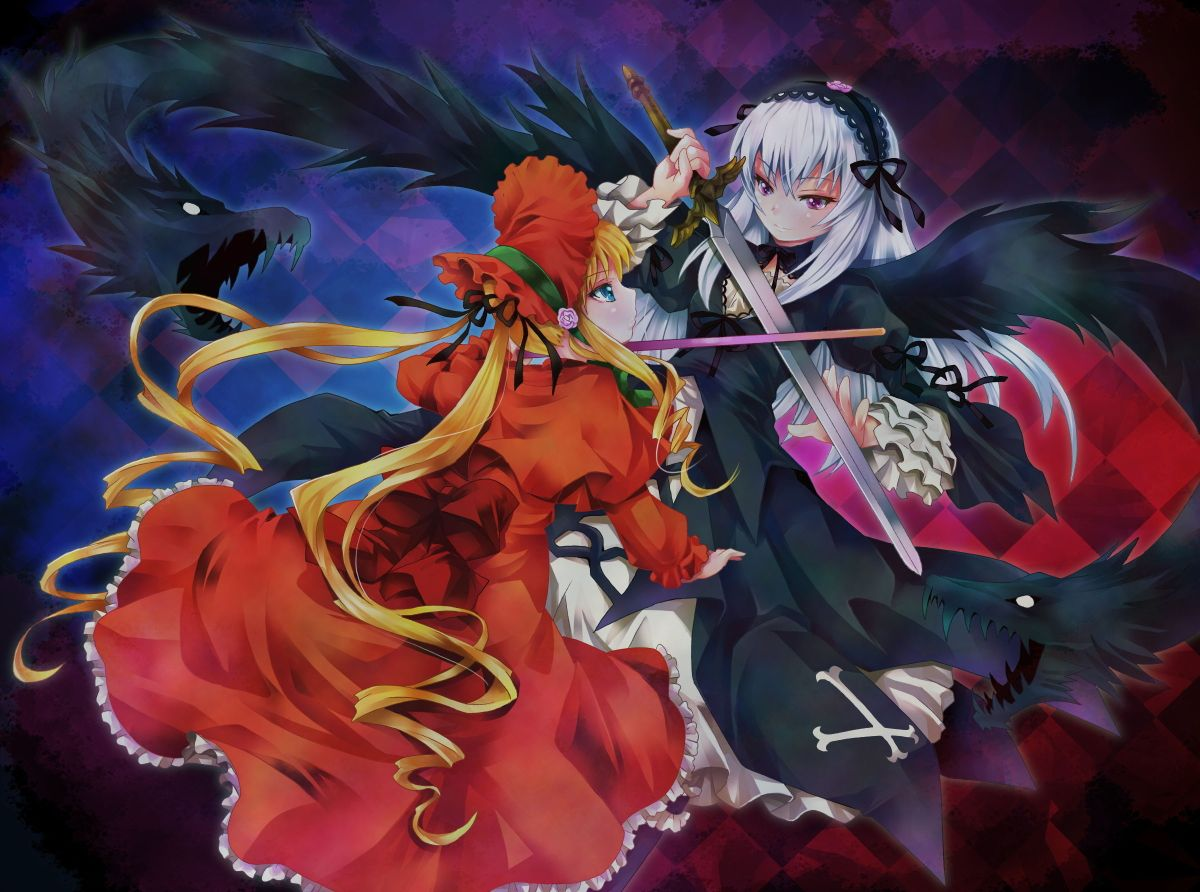 Konachan.com - 61859 blonde_hair blue_eyes rozen_maiden shinku suigintou sword weapon white_hair wings