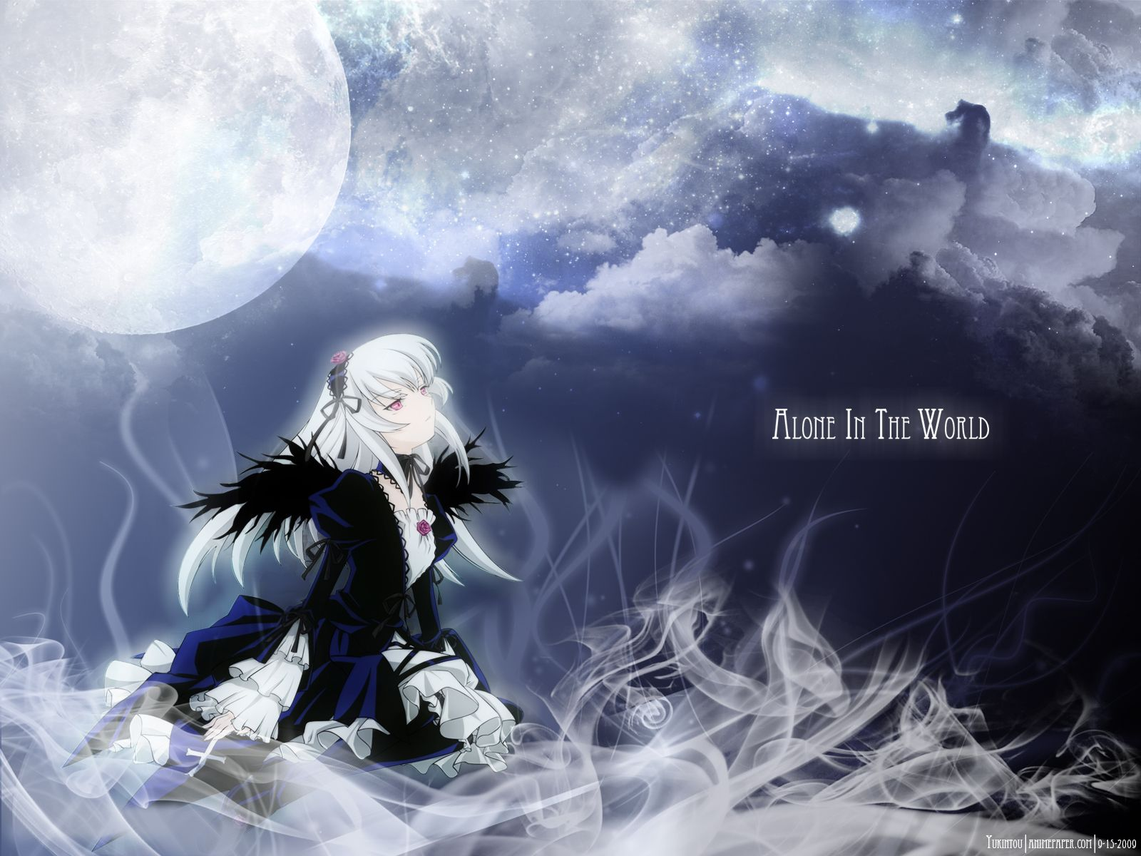 Konachan.com - 65119 gothic moon night pink_eyes rozen_maiden signed sky suigintou white_hair wings